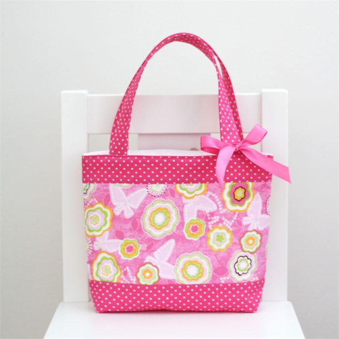 Mini Tote Bag - Pink Floral / Hot Pink Spot