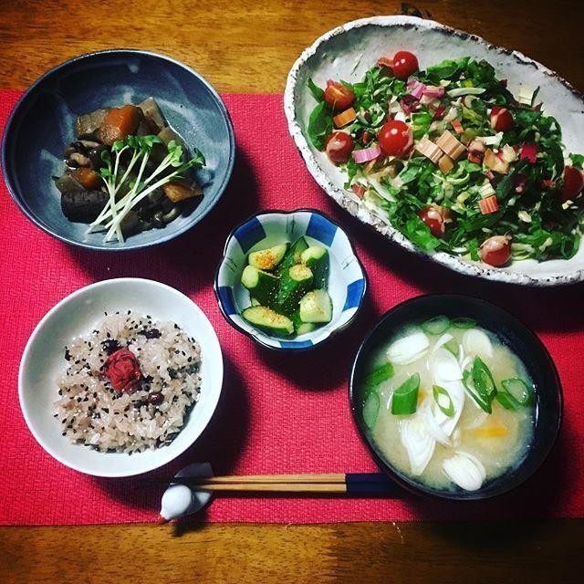 【もこずきっちん】 筑前煮、筑前煮、筑前煮、見にくいかもしれないけど… 筑前煮(画像左上)だよー✨ 美味しゅうございました‼️ ゆっくりまったり、チョコとコーヒー、ときどきレザークラフト ブックカバー作ってます #和食de粗食 #一日一食 #断食 #ファスティング #スムージー #料理 #クッキングラム #おうちごはん #男飯 #手作り #和食 #粗食 #晩ごはん #夜ごはん #ディナー #ごはん #梅 #肉 #味噌汁 #サラダ #野菜 #ダイエット #トレーニング #筋トレ #コーヒー #チョコレート #レザークラフト #ハンドメイド #ブックカバー #オーダーメイド