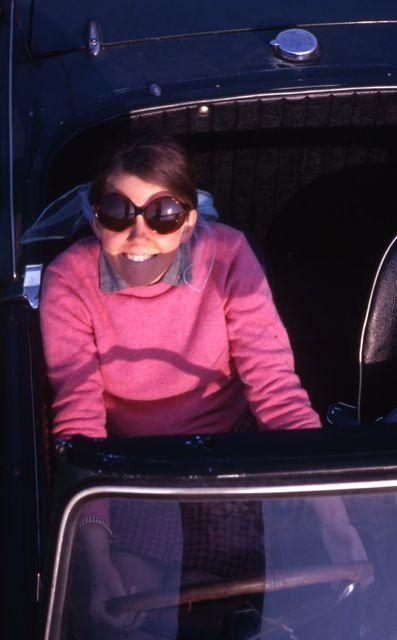 Sue Nichols in Triumph Spitfire, 1969