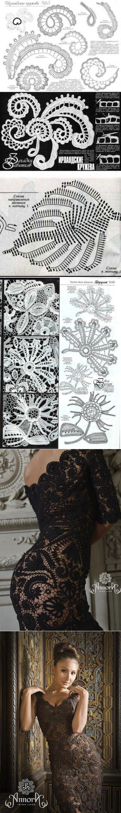 Дизайнерские вечерние пллатья в технике ИК. Кружевное платье ирландским вязанием ...<3 Deniz <3