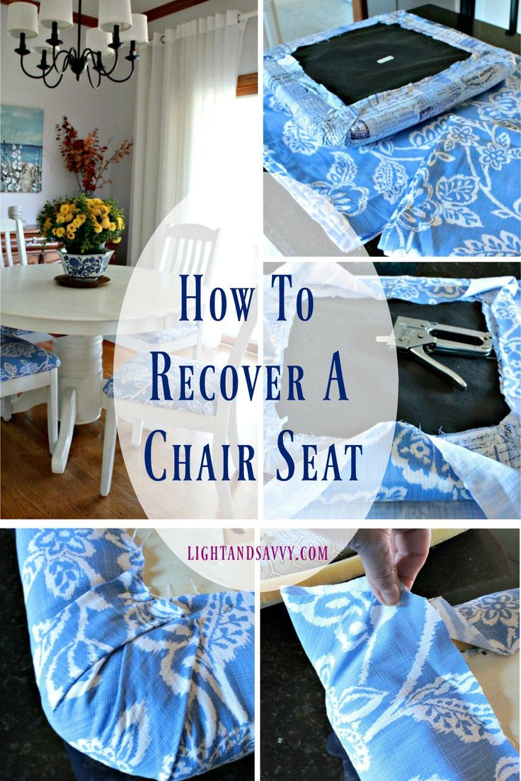 Recovering Dining Chairs is easier than you think! Re-cover your worn out chair seats in just a few easy to follow steps. Give your chairs a new look in less than an hour!