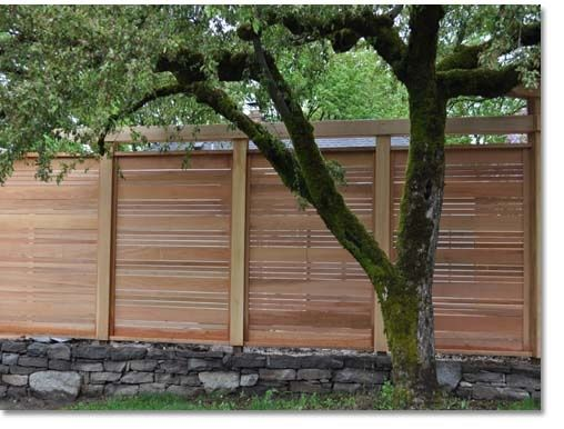 Horizontal Fence Slats With Trim Covering Joints