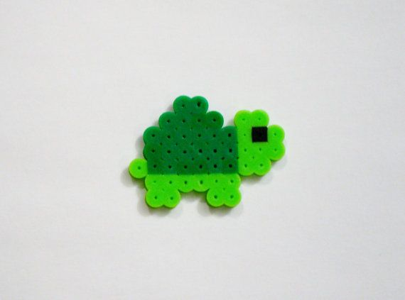 Baby TURTLE // Green Cute Kawaii Perler Beads Zoo Animals // Magnet Keychain Pin (pick your finish)