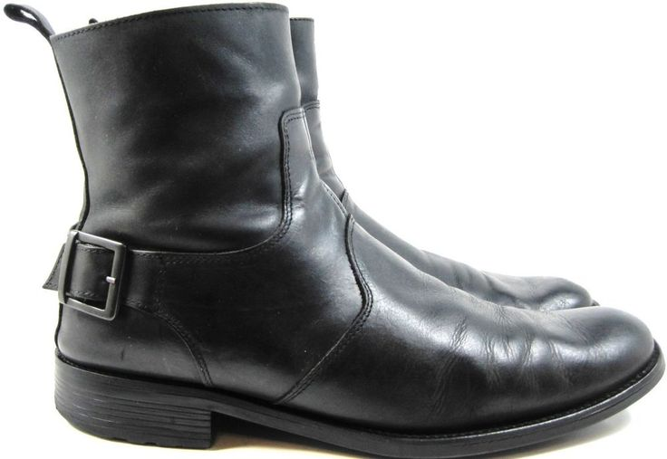 Bianco Men Leather Ankle Boots Size 11 Black 8 Inch Zippers.  VVV 1 #Bianco #AnkleBoots
