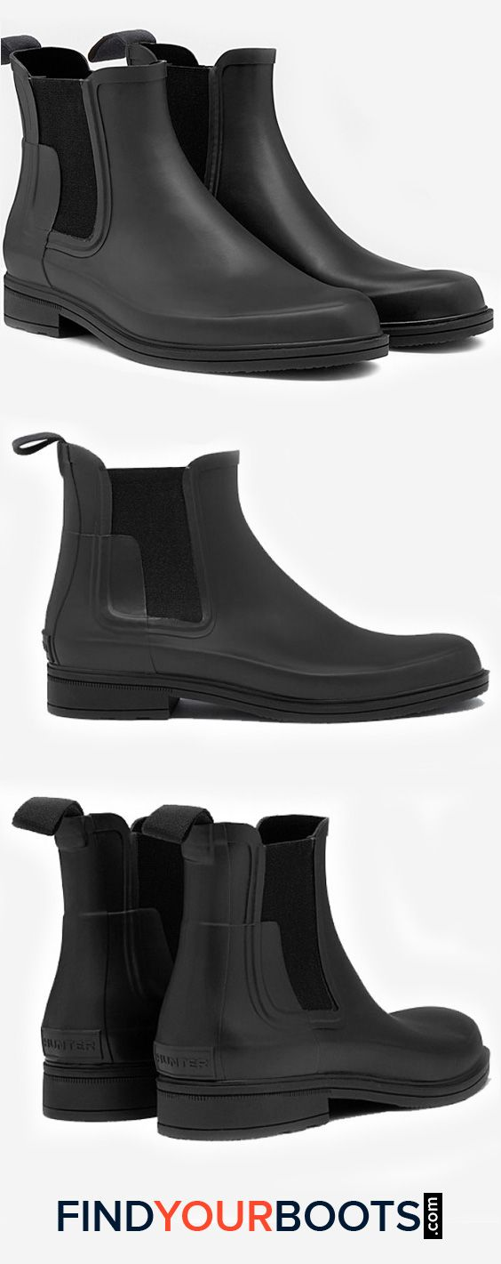 Hunter Mens Waterproof Chelsea Boots - stylish rain boots for men