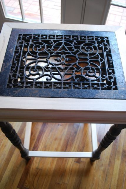 Repurposed Antique Iron Grate Parlor Table Trash Man Finds Pinterest Side Tables Antiques And Farms