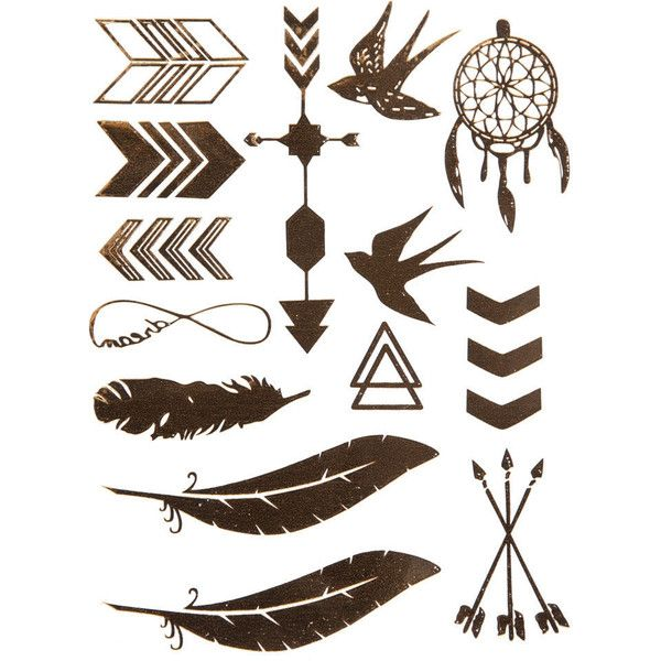 Metallic Boho Temporary Tattoos (6.68 CAD) ❤ liked on Polyvore featuring accessories, body art, fillers, tattoos, backgrounds, art and gold