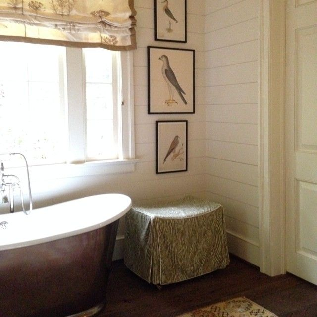 Lake Martin bathroom with shiplap walls, antique bird prints - home of Architect Bill Ingram