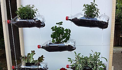 Meerdere plantenbakken van lege fles maken en aan elkaar hangen.