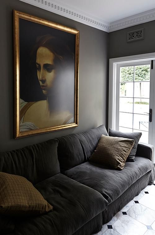 deep gray paired with bright white trim and ceiling and gilt frame  - Gillian Khaw - desire to inspire - desiretoinspire.net