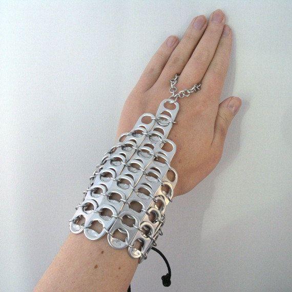 1 pair of pop tab handflowers. recycled bracelet