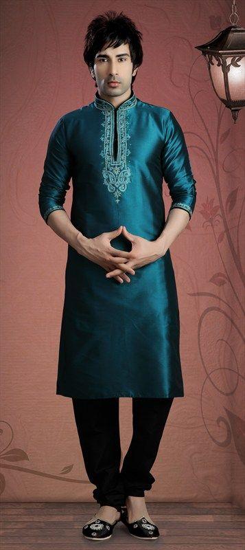 13207, Kurta Pyjamas, Silk, Machine Embroidery, Thread, Green Color Family