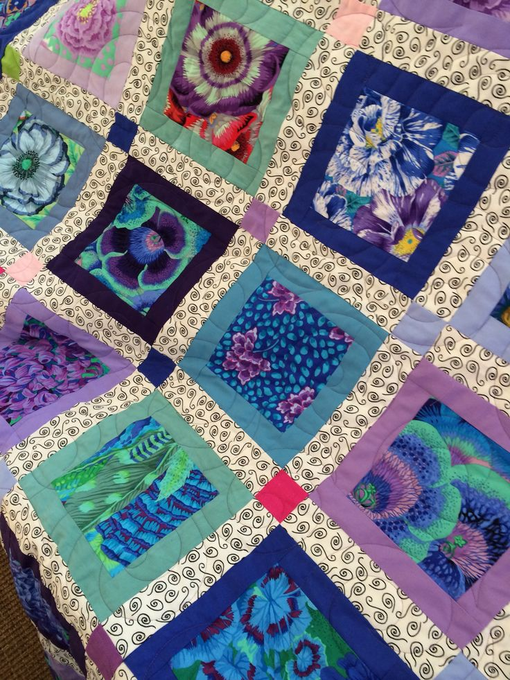 Squares with kaffe fassett -- try as an eye spy, quick baby or throw quilt, also with batiks?