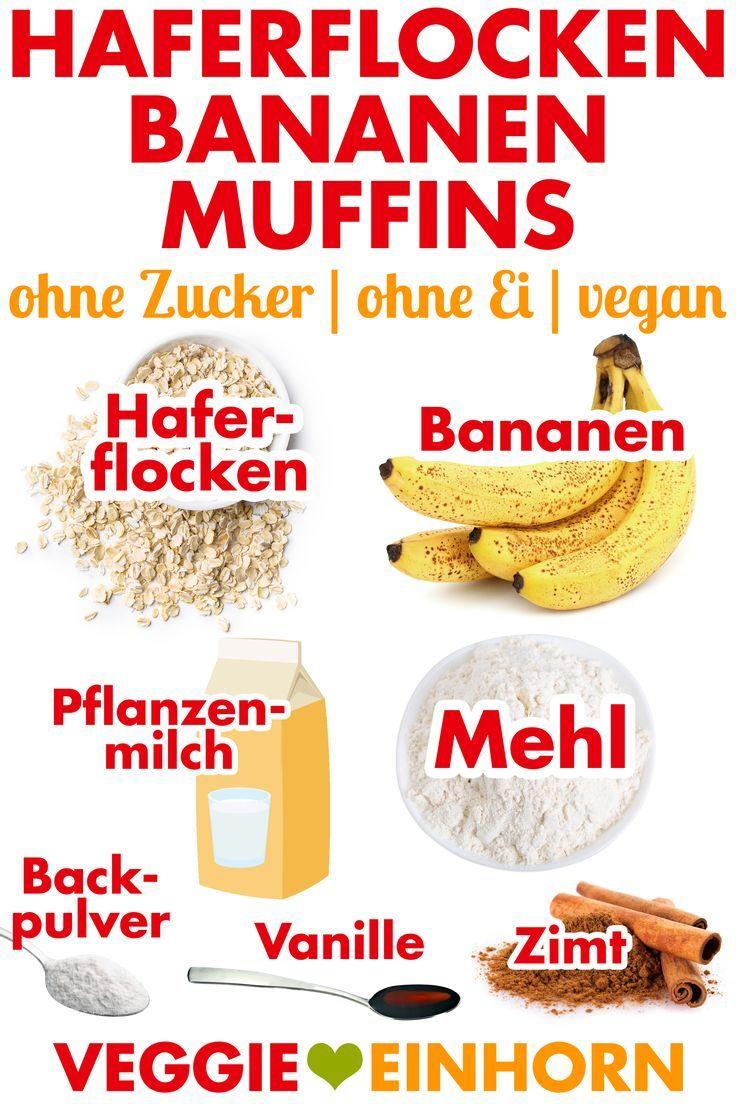 Vegane Bananenmuffins mit Haferflocken   – Frühstück für Schulkinder