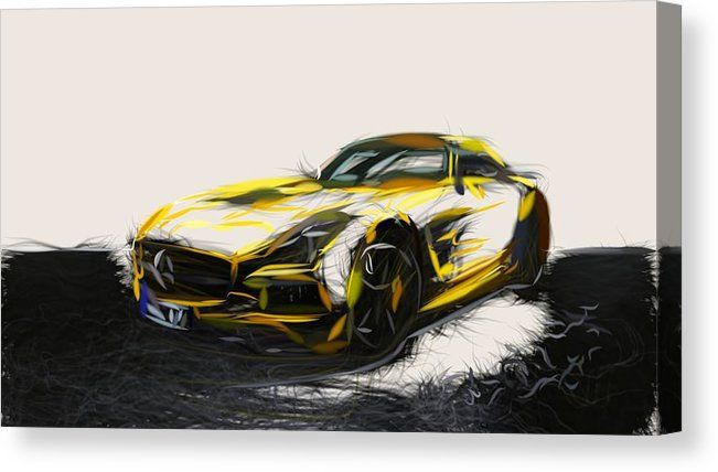 Mercedes Benz Sls Amg Black Series Drawing Carstoon Concept Canvas
