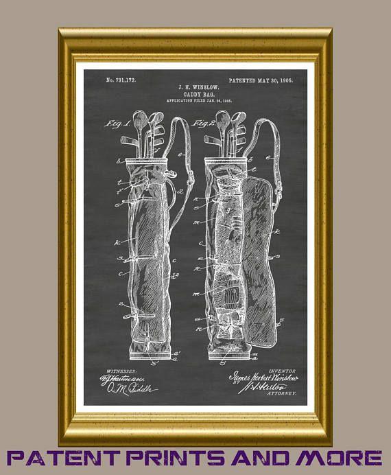 Golf Bag Poster Golf Bag Print Golf Bag Patent Golf Decor