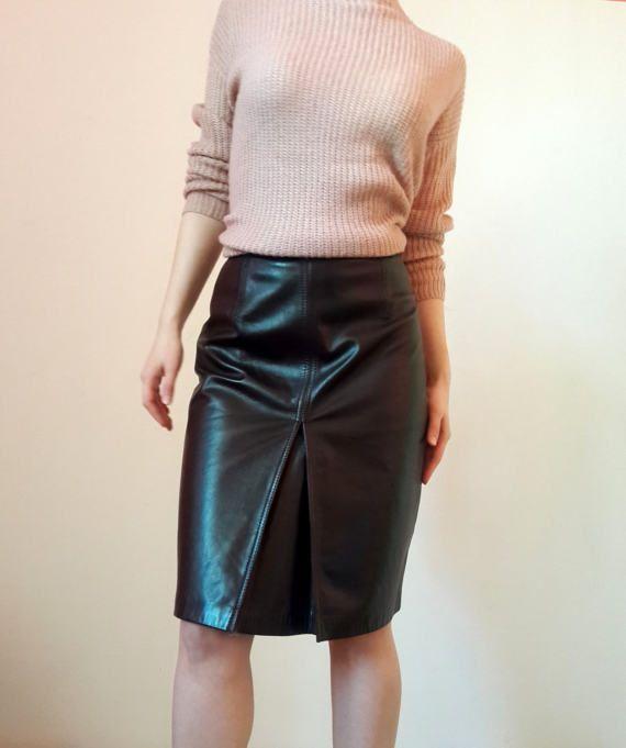 ST. EMILE bruin lederen hoge taille rok