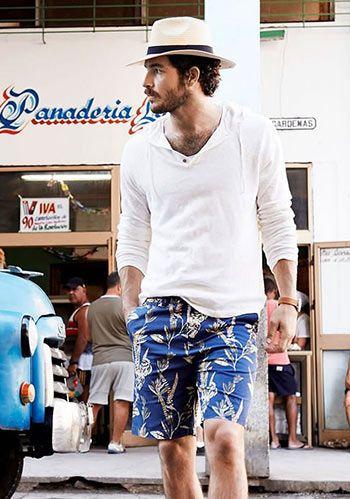 【夏】薄手プルオーバーパーカー×柄ショーツの着こなし(メンズ) | Italy Web