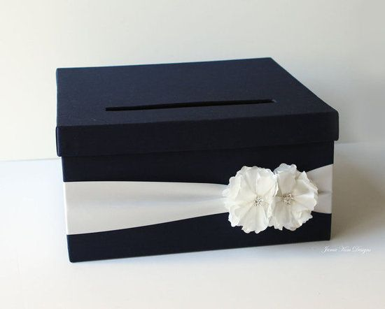 Navy Blue Wedding Card Box: Navy blue is always a very refined color, and this navy wedding card box ($76) simply glows with understated elegance.