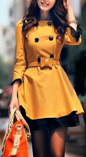 Yellow Coat, Black Skirt and Red & Beige Handbag