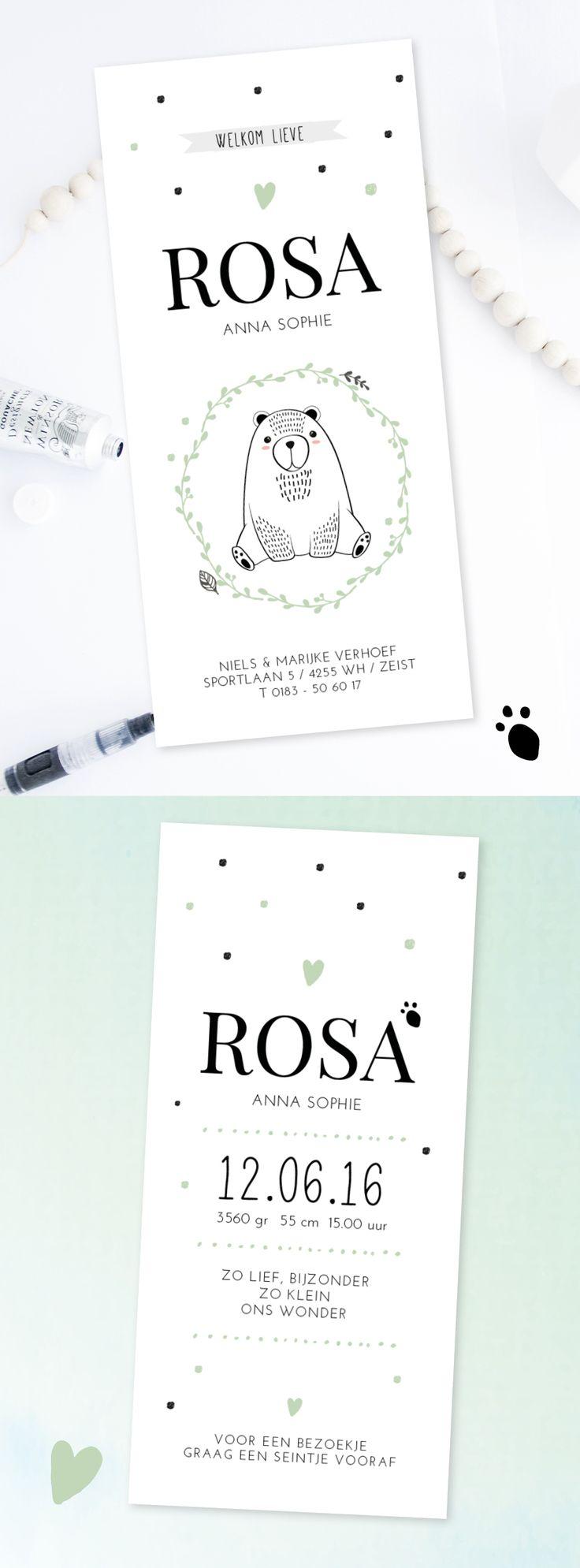 Lief geboortekaartje meisje | woodland | beertje | diertje | forest | bos | illustratie | hip design | baby | baby announcement