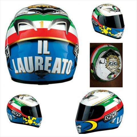 "AGV 'The Doctor' or 'Il Laureato' Helmet (2005 Mugello) The helmet design was in a cartoon style and featured Rossi on the top of the helmet holding his doctorate, with the caption 'Valentino dottore per davvero' (translated as: ""Valentino, truly doctor""). The colours of the Italian flag are wrapped around the helmet, with the sun and moon featured just under the visor. The rear of the helmet featured the words ""Il Laureato"", with a small gold coloured number '1′ above it."