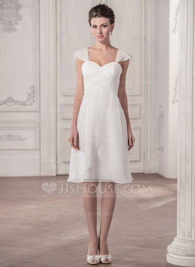 Forme Princesse Bustier en coeur Longueur genou Mousseline Robe de mariée avec Plissé (002058810)