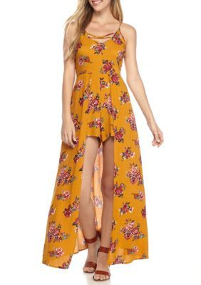 Almost Famous Girls' Cami Lace Up Romper With Maxi Overlay - Mustard - Xl