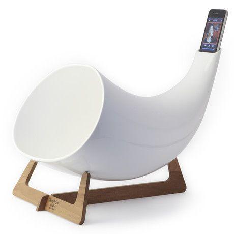amplify your iphone: Megaphone Iphone, Ceramic Megaphone, Megaphone White, Amplifier White, Products, Design