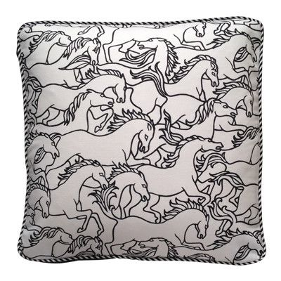 Florence Broadhurst Horse Stampede Square Squab Cushion Cover | Pony Lane