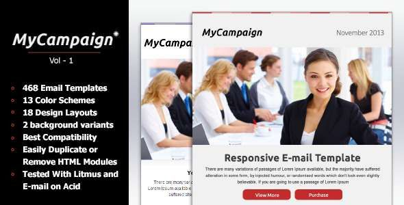 180 Absolute Best Responsive Email Templates - MyCampaign - Multipurpose Business Email Template