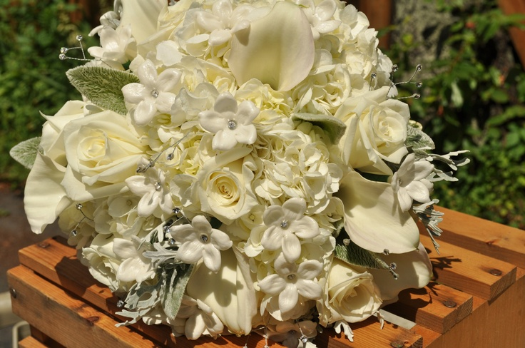 All White Bridal Bouqet