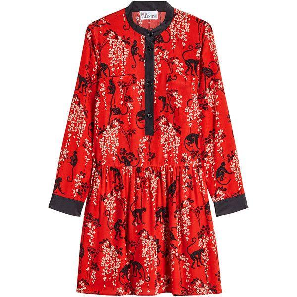 RED Valentino Printed Silk Dress ($745) ❤ liked on Polyvore featuring dresses, red, red dresses, silk dress, red silk dress, long sleeve silk dress and longsleeve dress