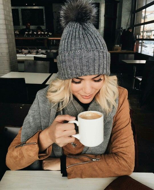 Love this super cozy knit beanie with furry pompom on top. Totally made for drinking sipping warm drinks!