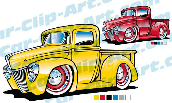 Classic Ford Truck Cartoon Vector Art Classic Trucks Diesel