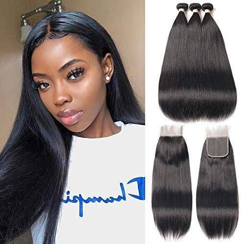 Amazing offer on FASHION QUEEN Hair Straight Weave 8A Brazilian Straight Hair 3 Bundles Lace Closure Free Part Mixed Size Length Perfect Natural Color Hair Weft (12 14 16 +10) online