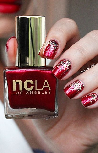 nails_by_cindy @ Instagram → My nails look like ornaments!  Just loving my Holiday Kit from @ shop ❤️ This combo is called 'Hollywood Heartbreaker'. This duo kit includes this gorgeous crimson red, and a glamorous gold glitter topper. ✨ When I have glitter polish, my fave thing to do is a glitter gradient! Perfect for the holidays! Want to see this and other holiday kits? Visit @ shopncla ❤️ Hollywood Heartbreaker → http://www.shopncla.com/products/hollywood-heartbreaker