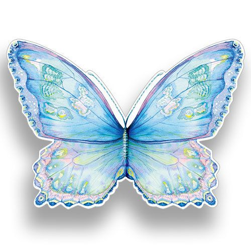 Blue Butterfly (AL69). Matt Textured, Die cut and flittered, with a White 100 gsm envelope. Blank for your own message.