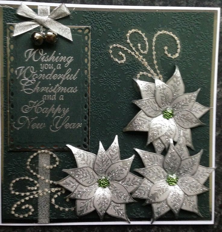 Christmas card using Chloe stamps (poinsettia, greeting and swirl)