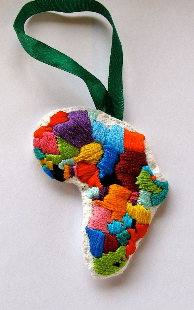 an embroidered africa ornament