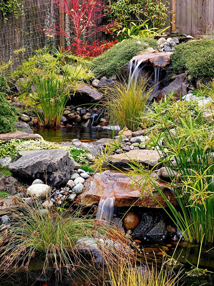 The sounds of moving water from waterfalls add to the soothing nature of Japanese gardens. This stream is punctuated by two waterfalls and ponds. #landscaping #japanesegarden #gardendesign #bhg Japanese Garden Plants, Japanese Garden Landscape, Asian Garden, Japanese Garden Design, Vegetable Garden Design, Japanese Gardens, Garden Stream, Water Garden, Garden Route