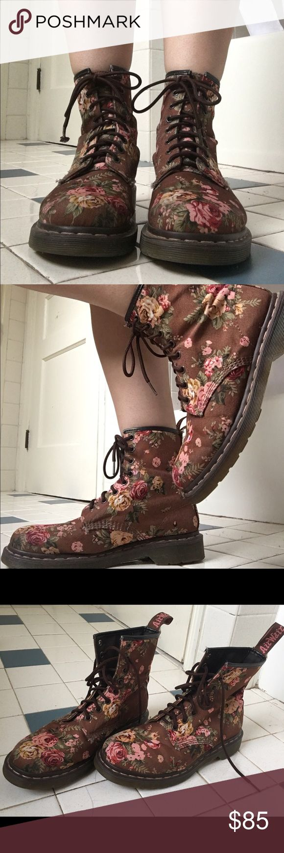 """""""BROWN 1460s VICTORIAN FLORAL"""" DOC MARTENS Gorgeous brown canvas Air-Wair Doc Martens with Victorian Era pink flower pattern. Well loved and worn but still pretty great condition! Slight wear on the canvas patterning, fraying and slight staining on the thread. WEAR/CONDITION: Well worn!                                                                                            MATERIAL: Canvas                                                                                          ✨ NO TRADES…"""