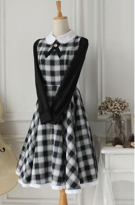 Fairy Tale Black Lapel Long Sleeves Lace Trim Fashion Lolita Dress