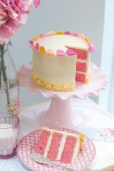 Como me encanta esta tarta por dentro..tan rosay que saborterciopelo fino! Tarta Pink Velvet