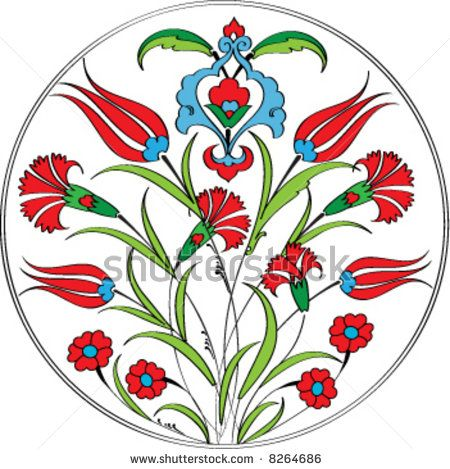 Traditional ottoman tulip carnation plate design by Murat Cokeker, via ShutterStock  I like the layout, but would change the flowers.