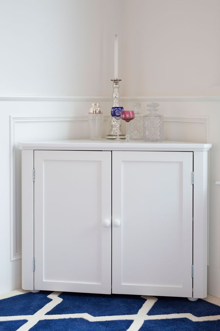 White Corner Cabinet With Drawers