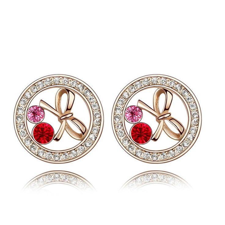Austrian Crystal Stud Earrings - Sweet Bowknot