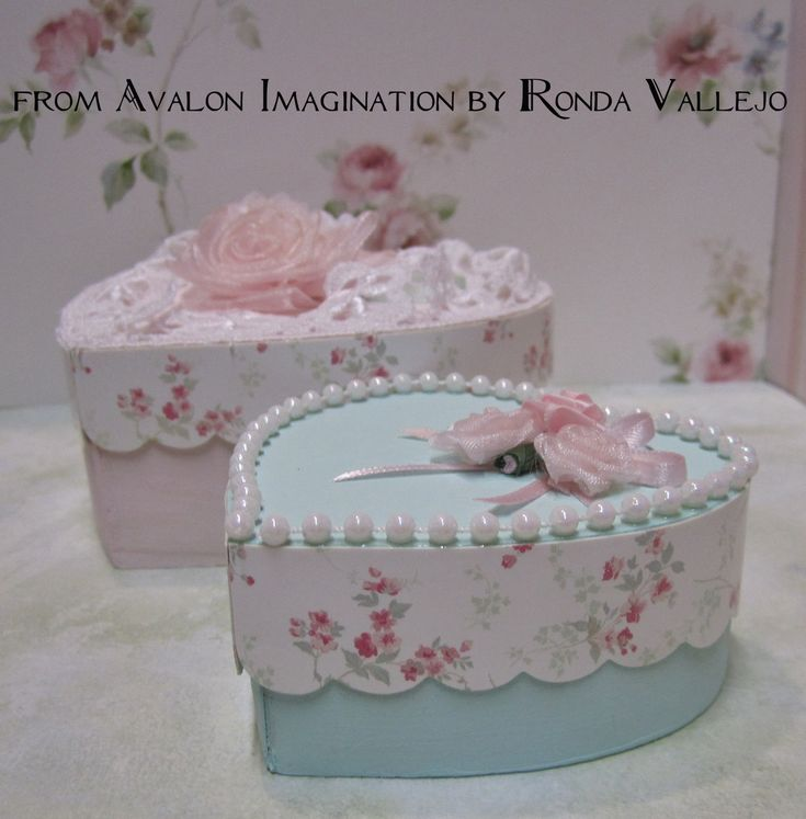 Mint and Pink shabby chic heart shaped trinket boxes-photo only