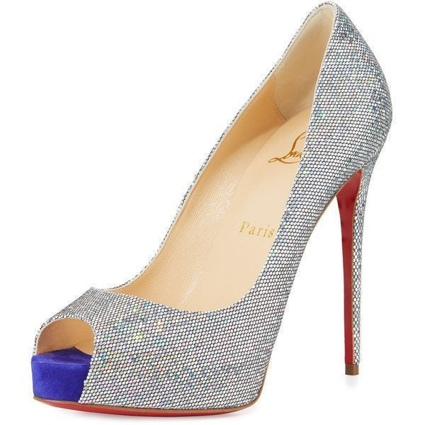 Christian Louboutin New Very Prive Glitter 120mm Red Sole Pump ($885) ❤ liked …
