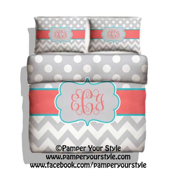 Polka dot and Chevron  Gray and Coral Duvet with 2 Matching by PAMPERYOURSTYLE, $129.00  Gray and Coral bedding